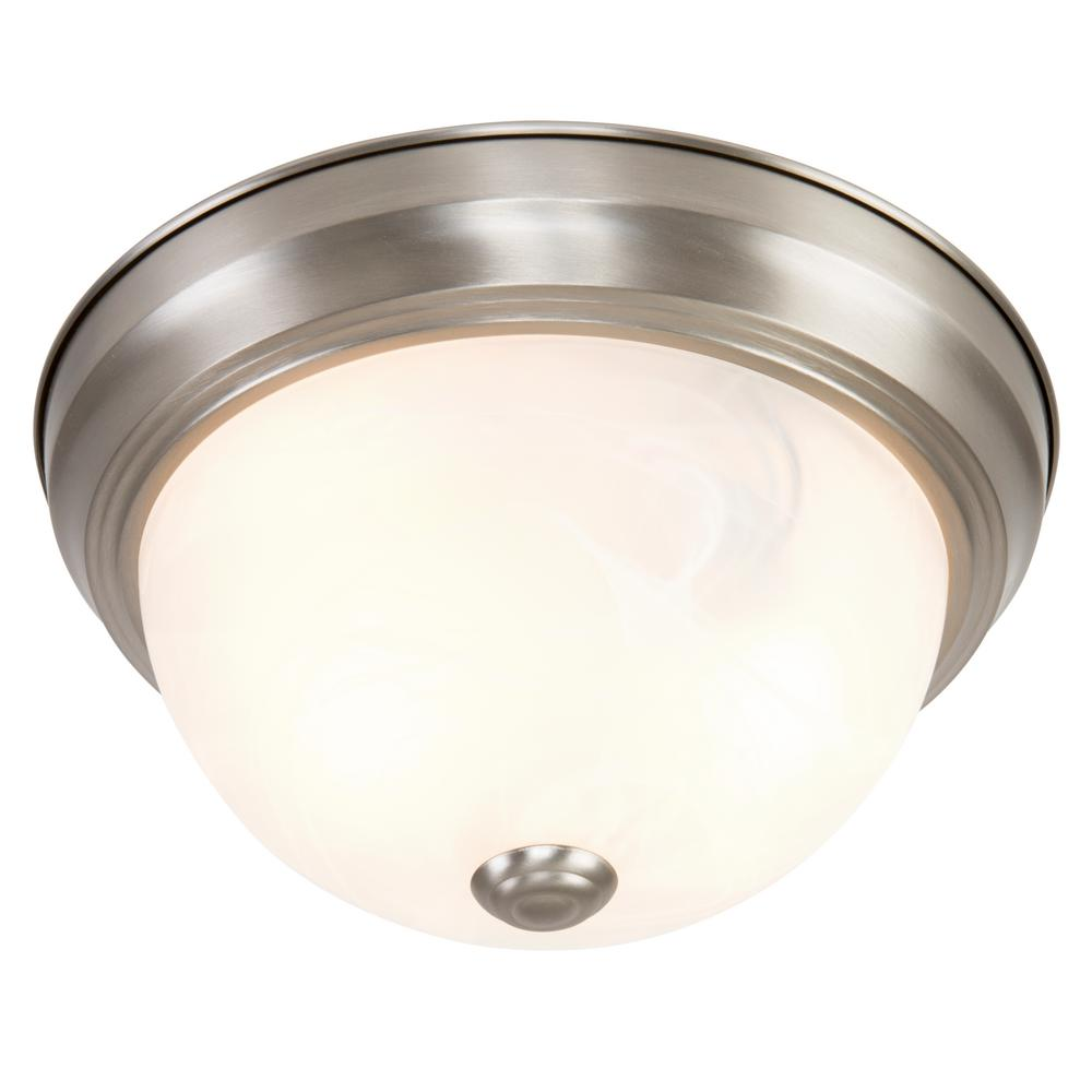 Yosemite Home Decor Belen 2-Light Satin Nickel Flushmount with White Marble Glass Shade