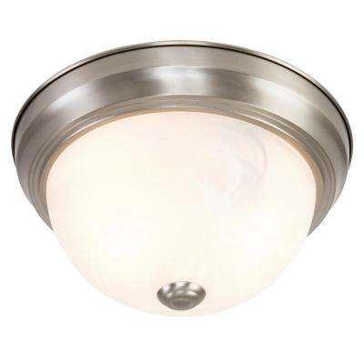 Belen 2-Light Satin Nickel Flush Mount with White Marble Glass Shade
