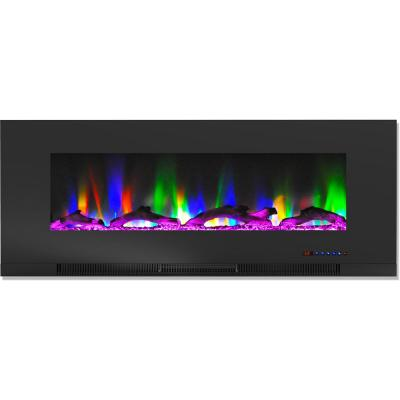 50 in. Wall-Mount Electric Fireplace in Black with Multi-Color Flames and Driftwood Log Display