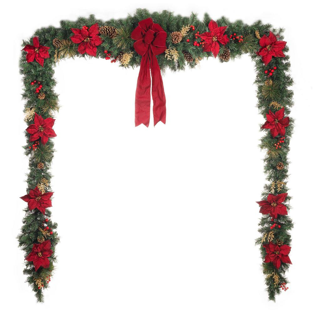 home accents holiday 17 ft unlit gold glitter cedar and mixed pine garland with burgundy