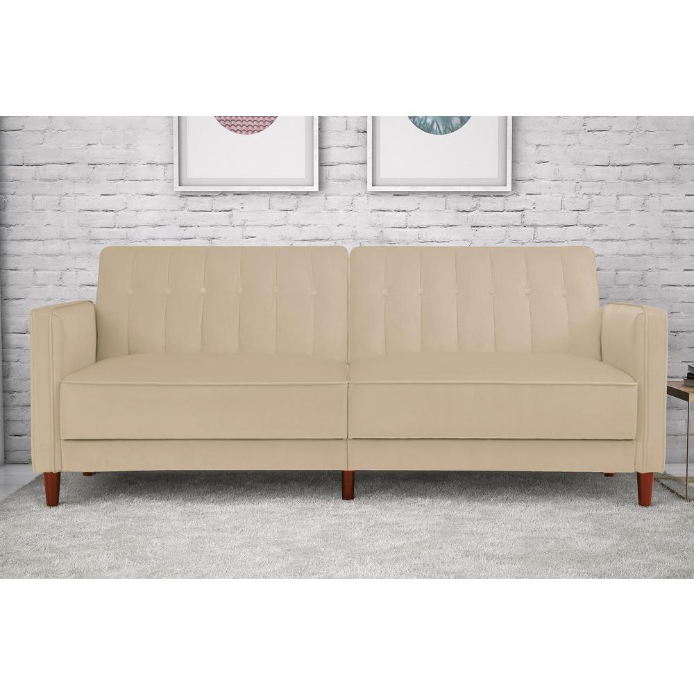 Pin Tufted Transitional Tan Velvet Twin and Double Size Futon