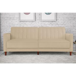 DHP Pin Tufted Transitional Tan Velvet Twin and Double Size Futon by DHP