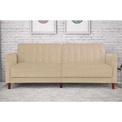 pin tufted tan velvet twin