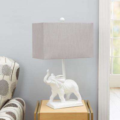 Elliott Elephant 20.75 in. White Table Lamp with Shade
