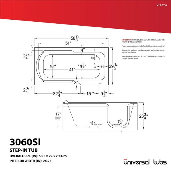 Universal Tubs Hd Series 60 In Right Drain Step In Walk In Whirlpool Bath Tub With Low Entry Threshold In White Hdsi3060rwh The Home Depot