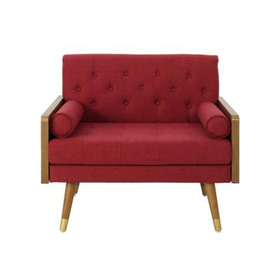 Frankie Mid-Century Modern Tufted Red Fabric Club Chair