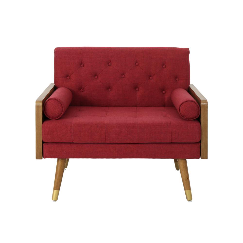 Frankie Mid-Century Modern Tufted Red Fabric Club Chair