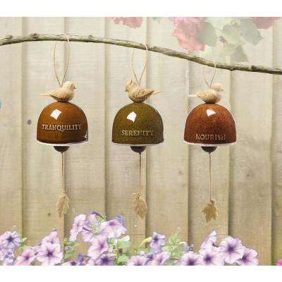 3-Piece Tranquility Serenity and Nourish Birds 8 in. Resin Hanging Bells