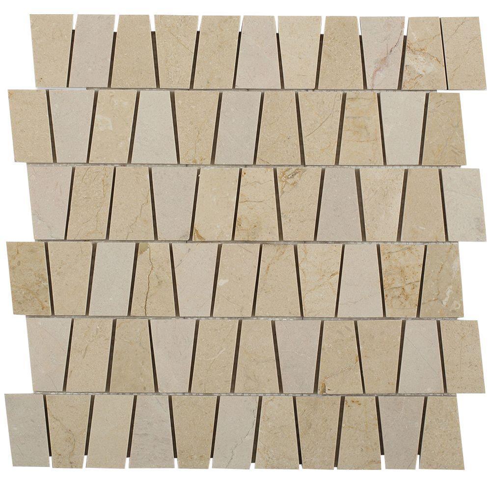 Splashback Tile Artifact Crema Marfil Marble Mosaic Tile - 3 in. x ...