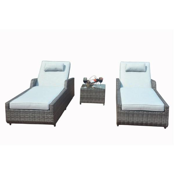 Alisa 3-Piece Grey Adjustable Wicker Patio Chaise Lounge Set with Grey Cushions and Side Table