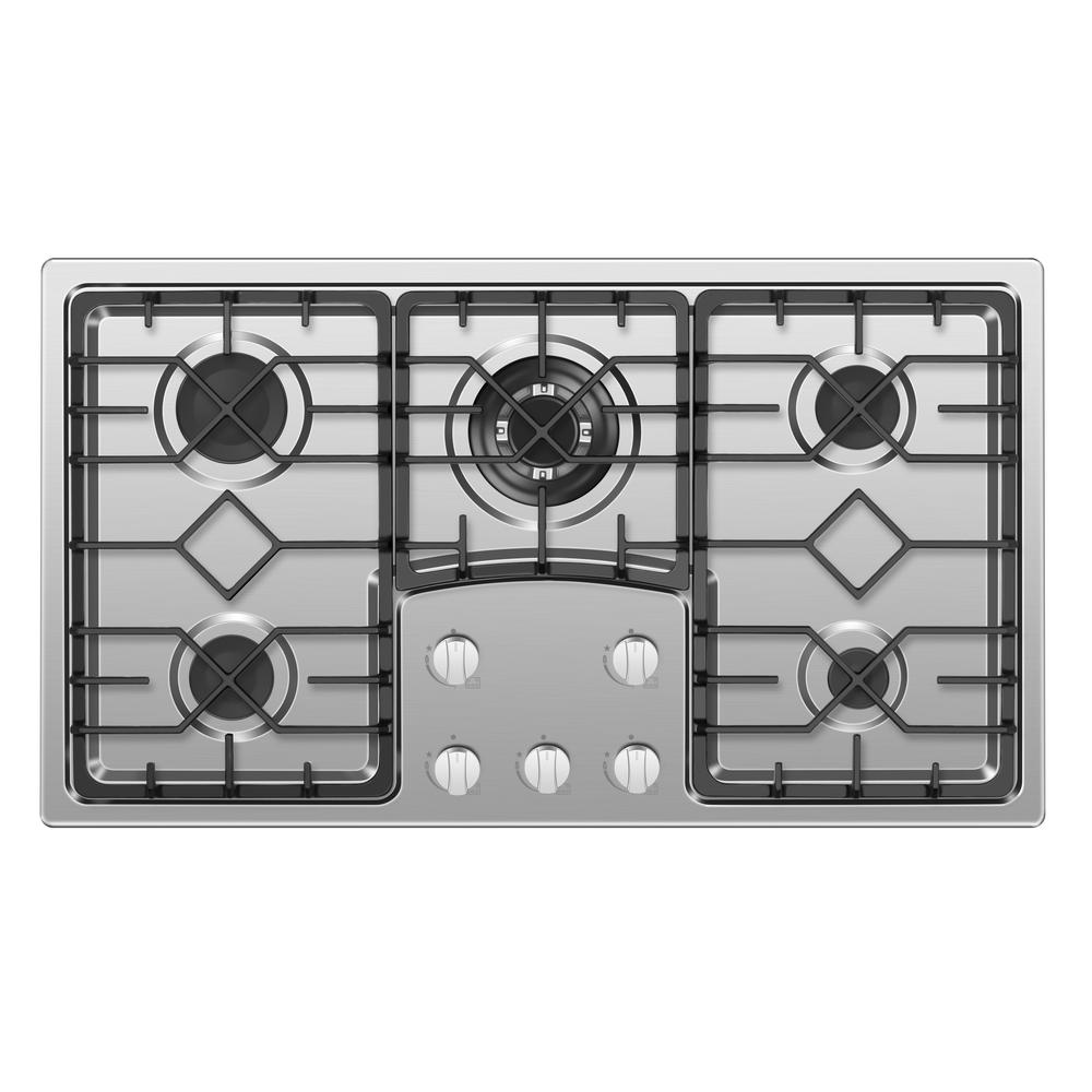 Empava EMPV-36GC5B9S 36 Recessed Gas Stove Cooktop with 5 Italy SABAF Sealed Burners NG//LPG Convertible in Stainless Steel