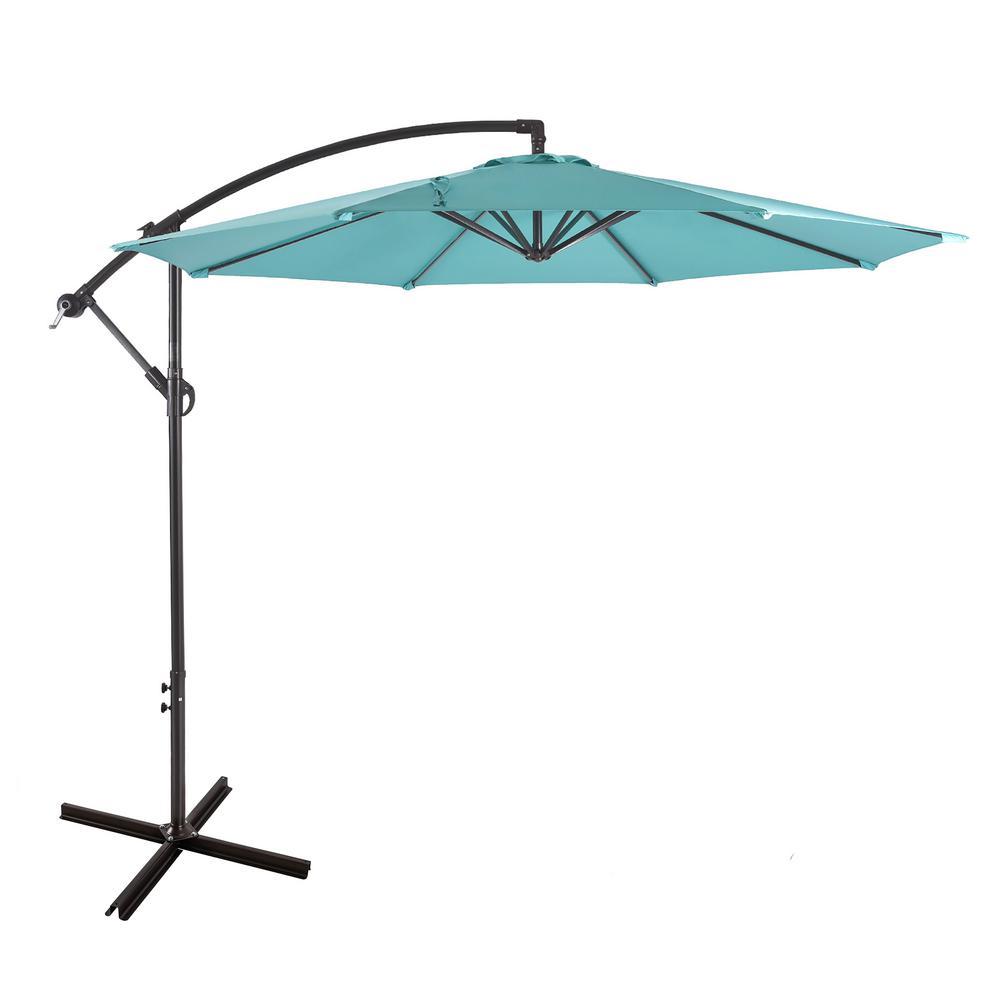 Westin Outdoor Bayshore 10 ft. Cantilever Hanging Patio Umbrella in Turquoise