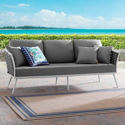 Stance Aluminum Outdoor Sofa in White with Gray Cushions