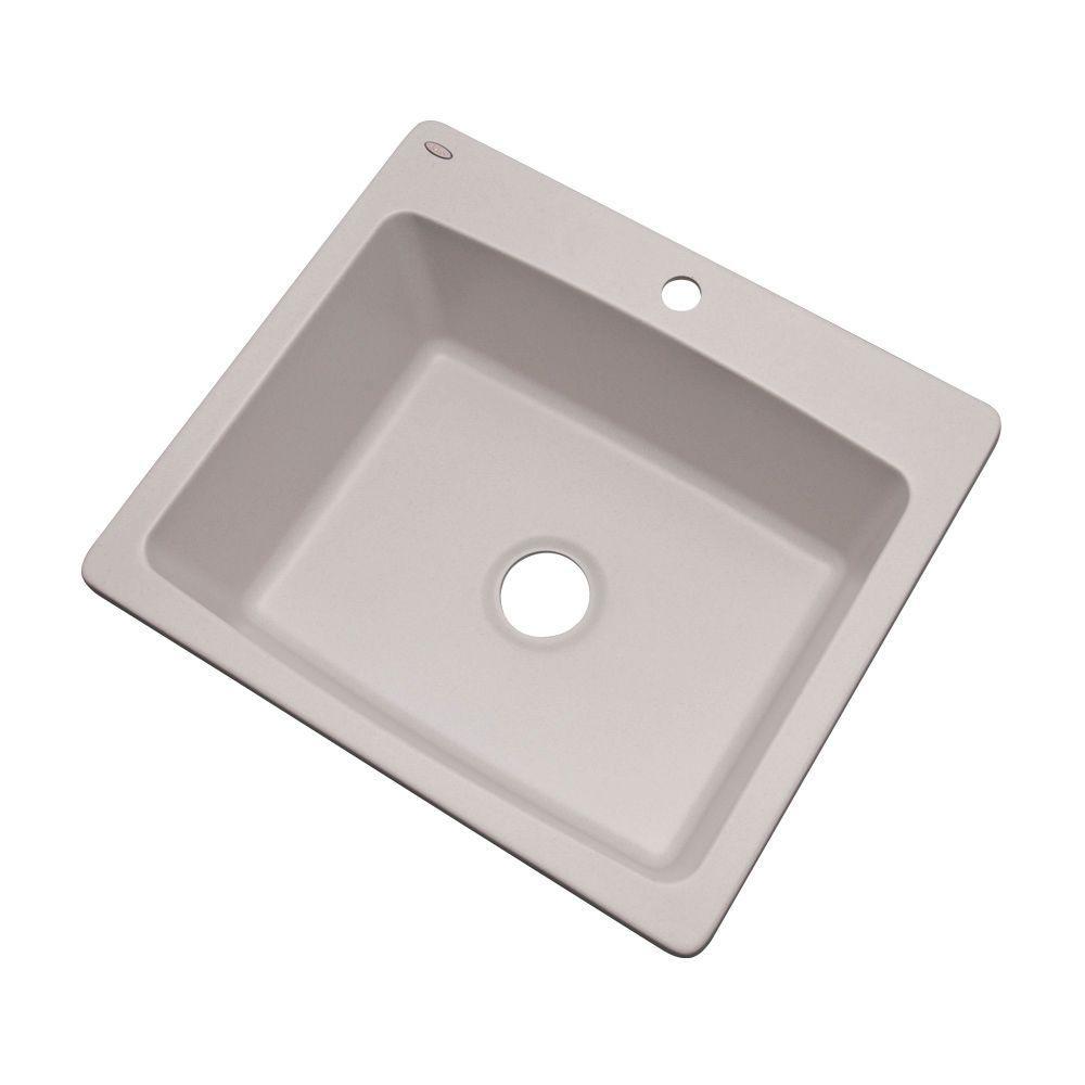 Northbrook Dual MountComposite Granite 25 in. 1-Hole Single Basin Kitchen Sink in White
