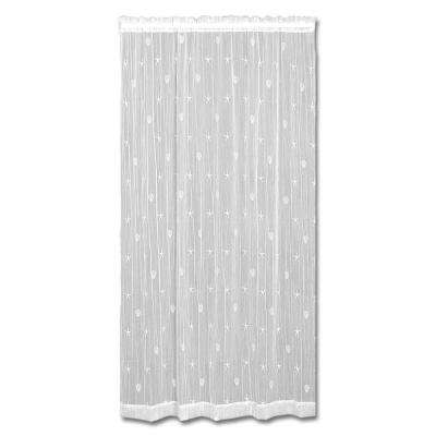 45 in. W x 96 in. L Sand Shell Polyester White Lace Curtain