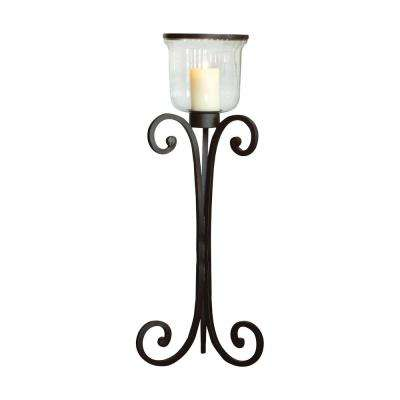 Prairie 56 in. Rustic metal and Clear glass Floor Hurricane Candle Holder