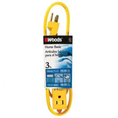 3 ft. 3-Outlet Extension Cord with Power Tap, Yellow
