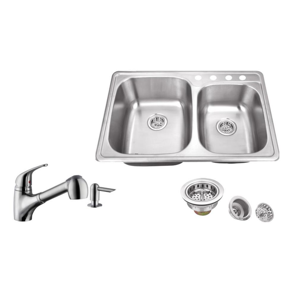 Ipt Sink Company Drop In 33 In 4 Hole Stainless Steel Kitchen Sink