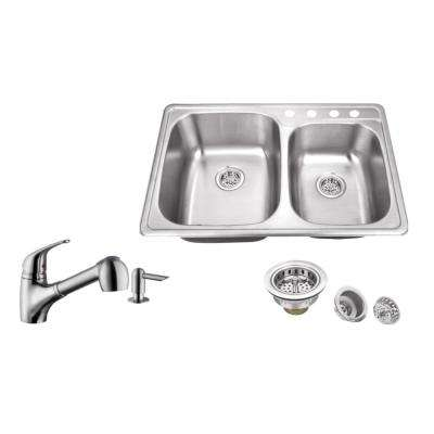 Drop-in 33 in. 4-Hole Stainless Steel Kitchen Sink in Brushed Stainless with Low Profile Pull Out Kitchen Faucet