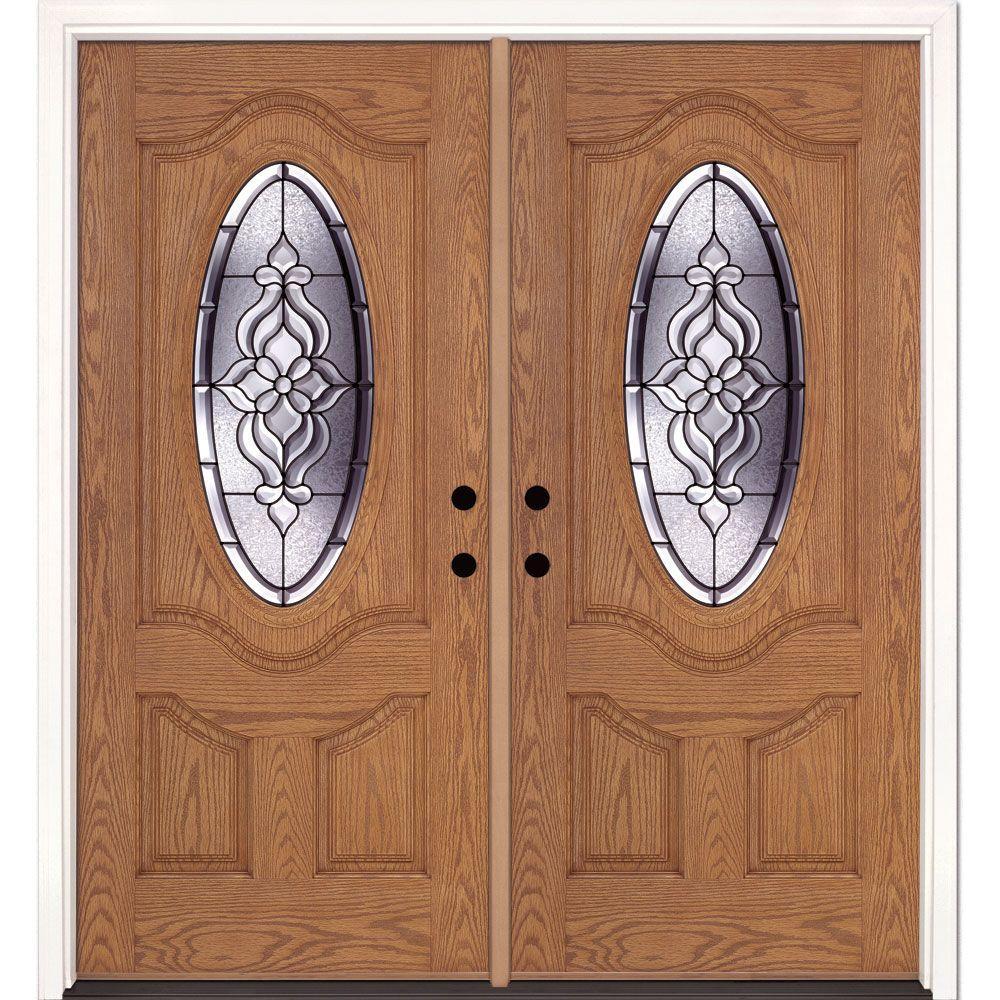 74 in. x 81.625 in. Lakewood Patina 3/4 Oval Lite Stained Light Oak Left-Hand Fiberglass Double Prehung Front Door