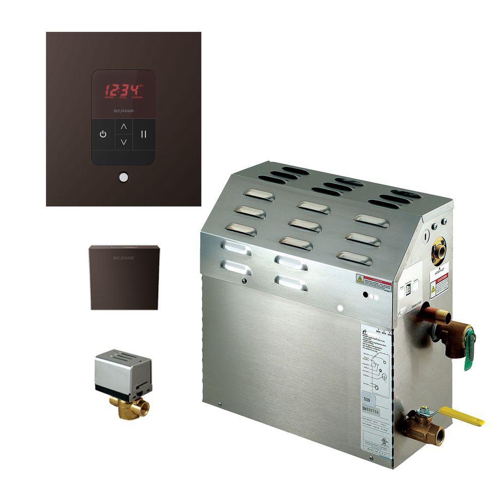 9kW Steam Bath Generator with iTempo AutoFlush Square Package in Oil Rubbed Bronze