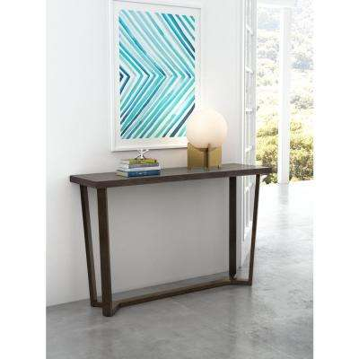 Brooklyn Gray Oak and Antique Brass Console Table