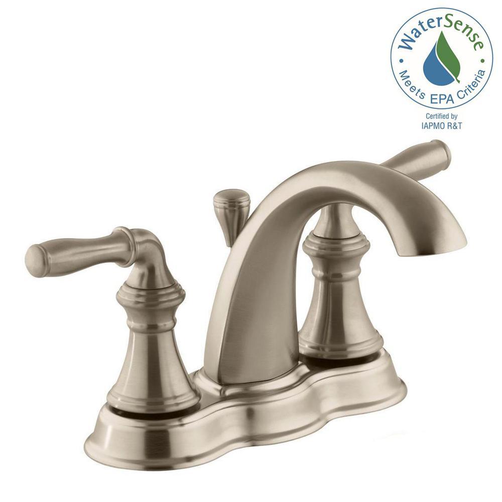 Devonshire 4 In. Centerset 2 Handle Mid Arc Water Saving Bathroom Faucet
