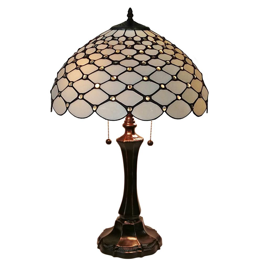 Amora Lighting 25 In Tiffany Style Chandelle Table Lamp