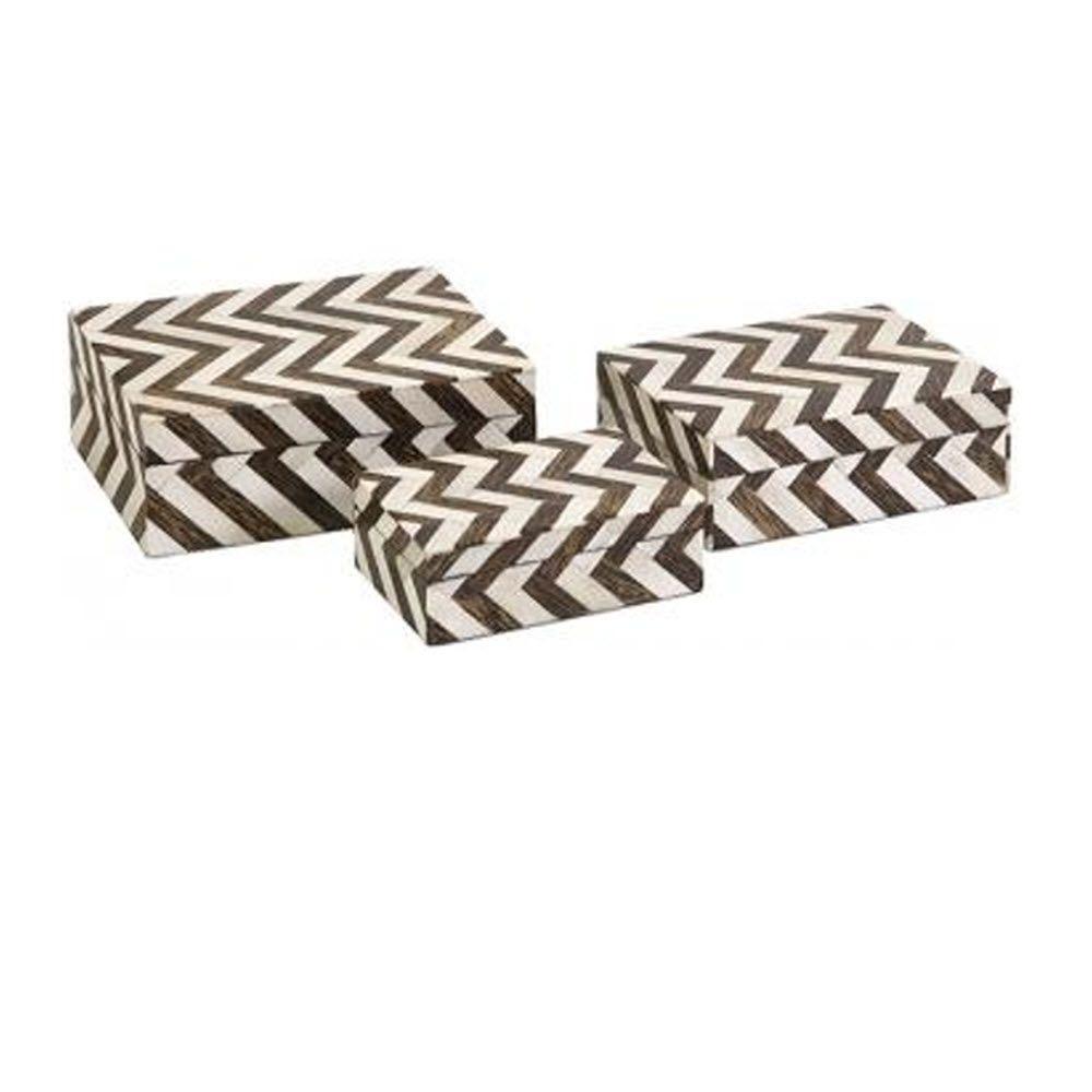Chevron Bone Brown/White Boxes (Set of 3)