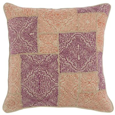 Mara Berry Orange 22 in. x 22 in. Linen Embroidery Decorative Pillow