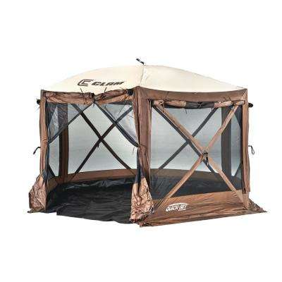 Quickset Pavilion Brown/Tan Roof Camper Screen Shelter - Zip Down Sides and Floor