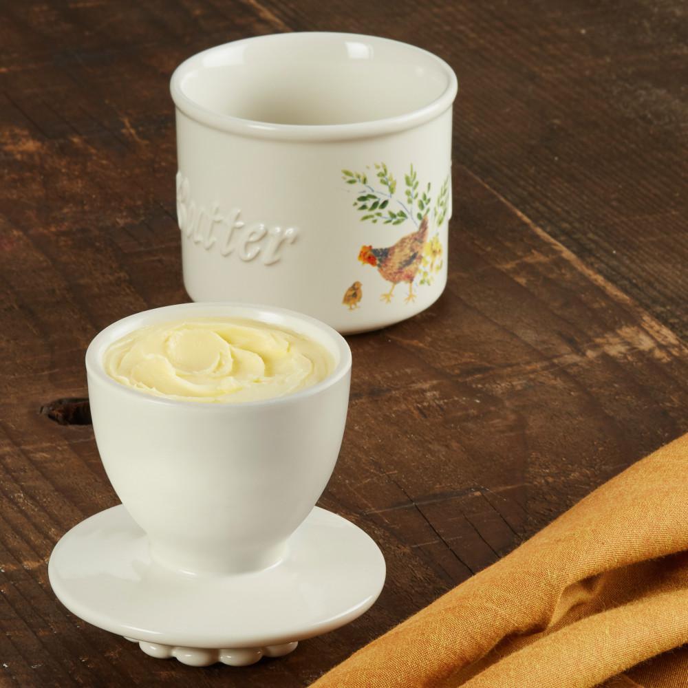 Dinnerware Ceramic Butter Holder, Garden Rooster