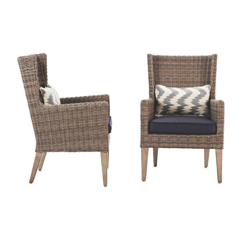 Home Decorators Collection Naples Grey All Weather Wicker Outdoor Wingback Dining Chair With Navy Cushions