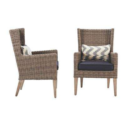 Naples Grey All-Weather Wicker Outdoor Wingback Dining Chair with Navy Cushions (Set of 2)