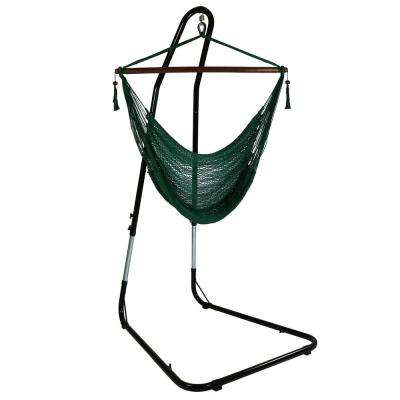 4 ft. Hanging Caribbean XL Hammock Chair with Adjustable Stand in Green