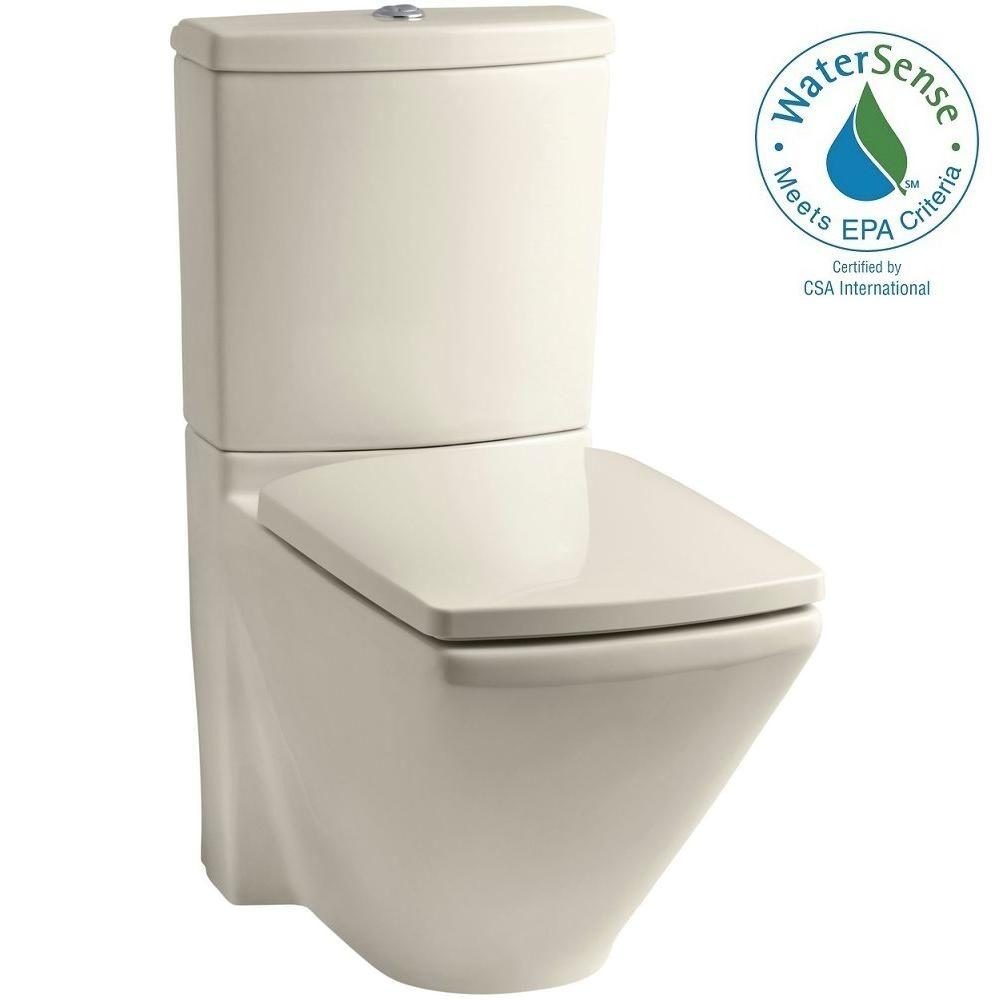 KOHLER Escale 2-piece 0.8 or 1.6 GPF Dual Flush Elongated Toilet in Almond