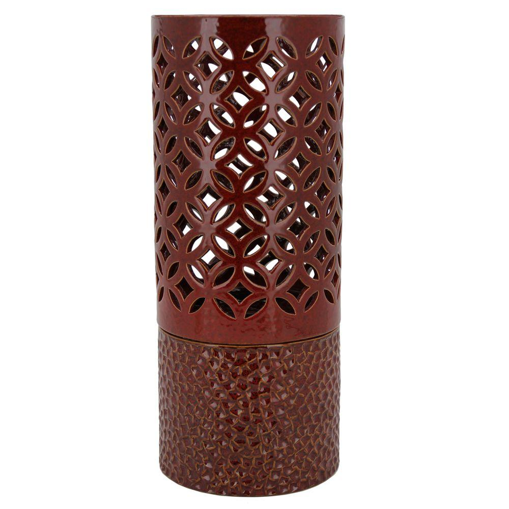 Pacific Decor Roma Hurricane Set Red Fire Pot-DISCONTINUED