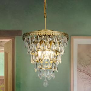 Interior Decor Glass Tear Drops 3-Lights Chandelier Pendant Ceiling Lighting In Antique Brass