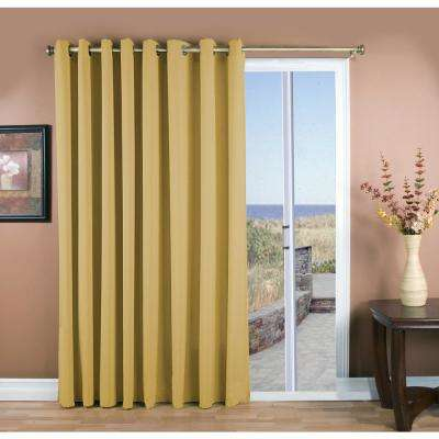 Glasgow 112 in. W x 84 in. L Woven Polyester Grommet Patio Panel in Gold Leaf