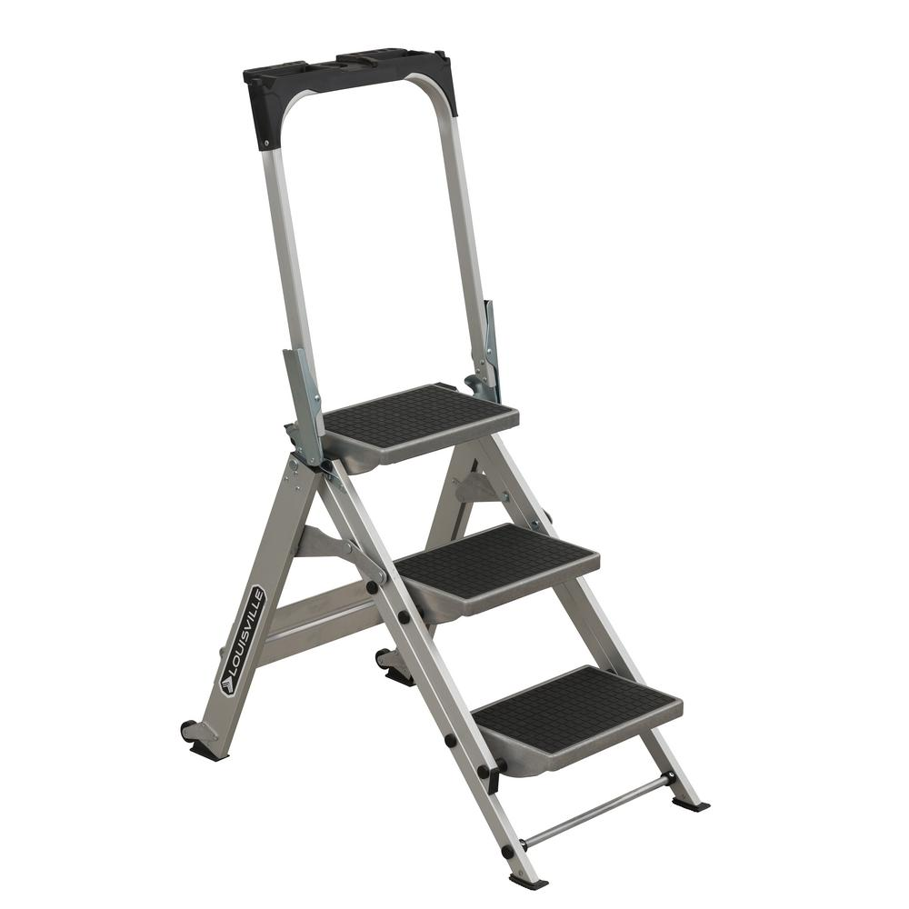 Louisville Ladder 3 ft. Aluminum Step Stool with 300 lbs. Load Capacity Type IA Duty Rating