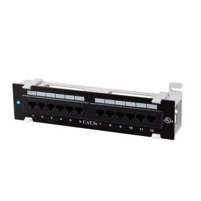 12-Port Category 5e Mini Patch Panel with 89D Mounting Bracket