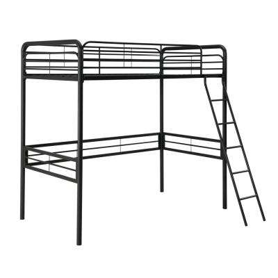 Olivia Black Twin Metal Loft Bed