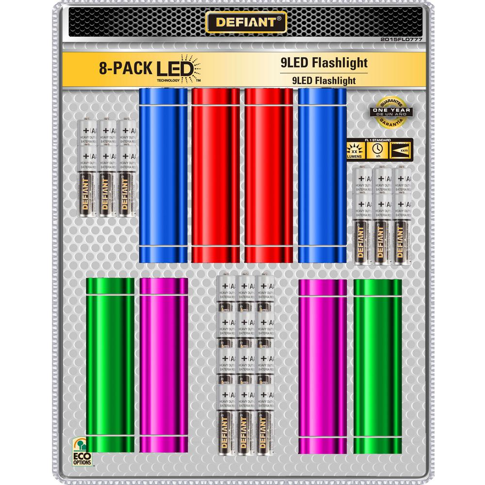 Defiant Defiant AAA 9 LED Flashlight (8-Pack), green/ blue/red/yellow
