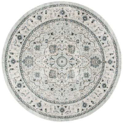 Isabella Light Gray/Gray 7 ft. x 7 ft. Round Area Rug