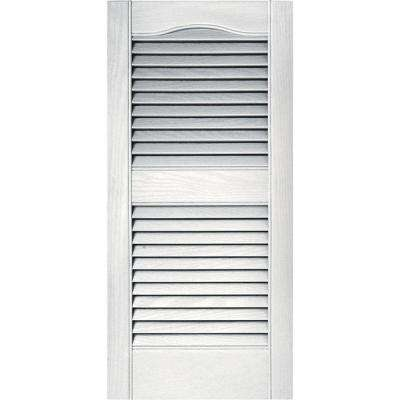 15 in. x 31 in. Louvered Vinyl Exterior Shutters Pair in #117 Bright White