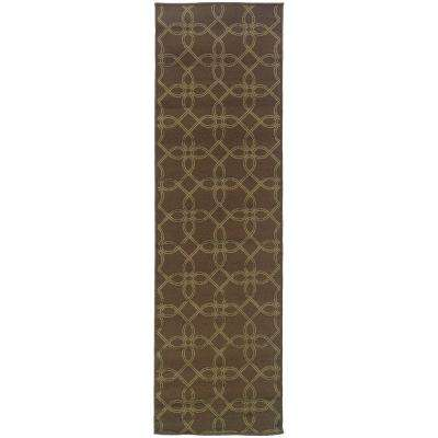 Labyrinth Brown 2 ft. x 8 ft. Indoor/Outdoor Runner Rug