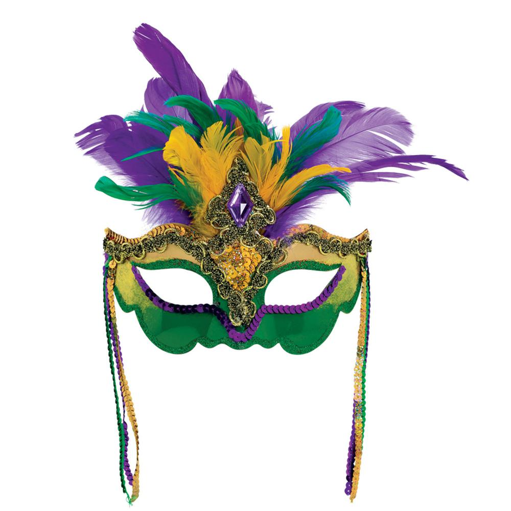 Amscan Green Purple And Gold Feather Sequin Gem Mardi Gras Mask