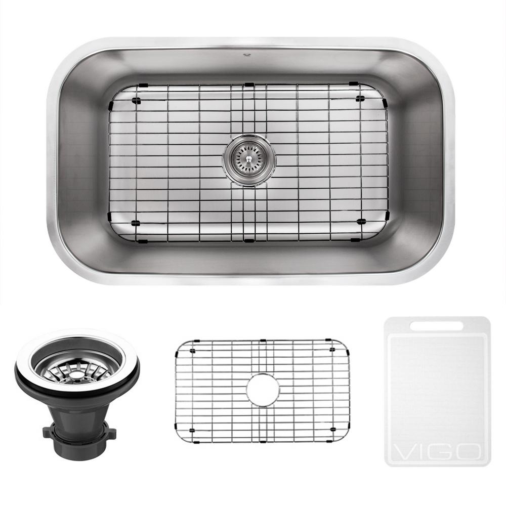 VIGO Undermount Stainless Steel 30 In. Single Bowl Kitchen Sink In Stainless  Steel With Grid