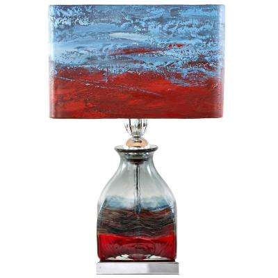20.75 in. Multi-Colored Indoor Table Lamp with Hand Painted San Diego Sunset Shade
