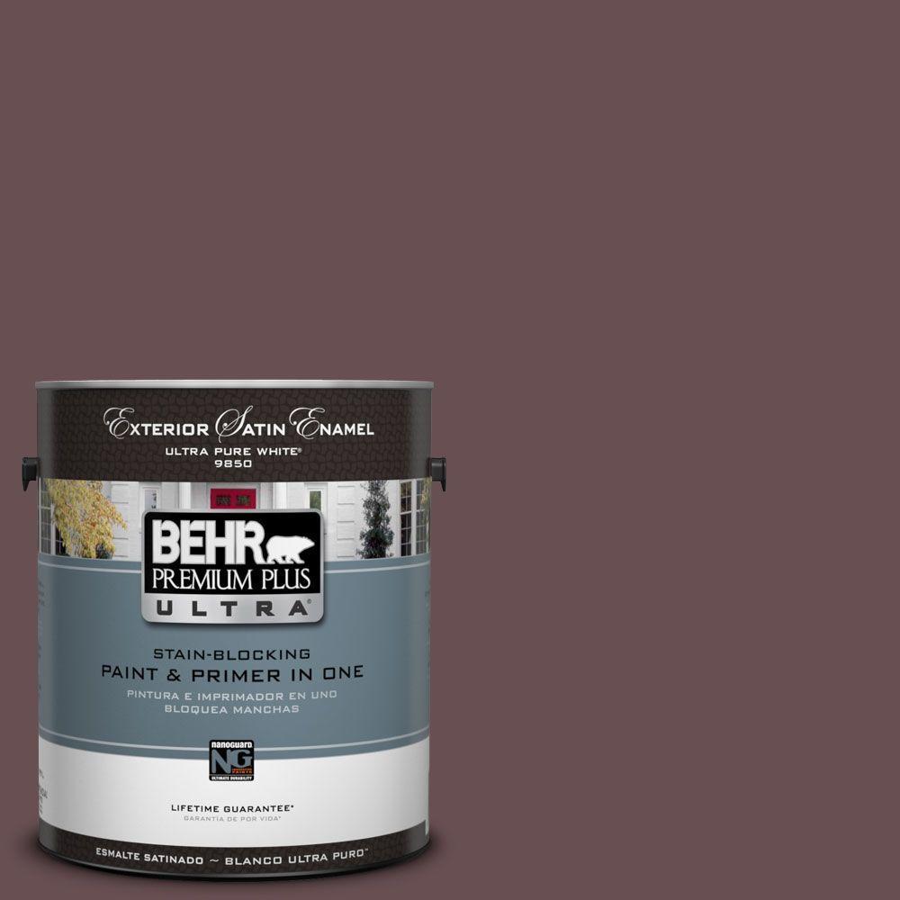 BEHR Premium Plus Ultra 1-Gal. #UL100-2 Ripe Fig Satin Enamel Exterior Paint